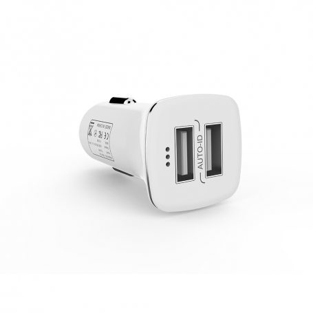 Car socket charger 2.4A/5V, with Type-C cable, 2 x USB