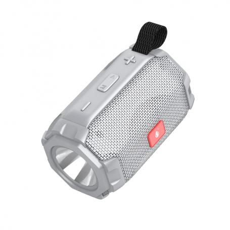 Φορητό Ηχείο LED-904W, Bluetooth, Φακός, USB, SD, FM, AUX, silver