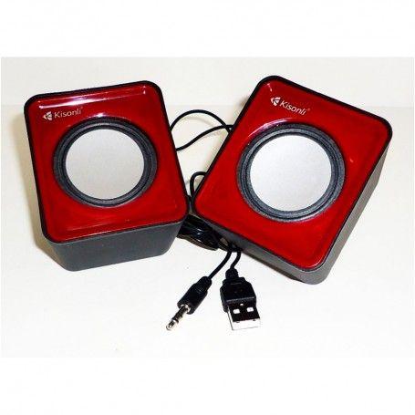 speaker for computer, Kisonli, V310, 2x3W, USB red
